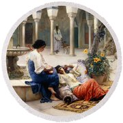 In The Courtyard Of The Harem Round Beach Towel