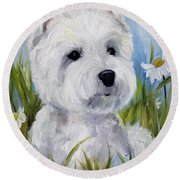 In The Daisies Round Beach Towel