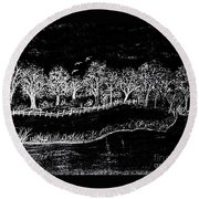 In The Dark Of The Night Round Beach Towel
