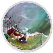 In The Eye Of The Storm Round Beach Towel