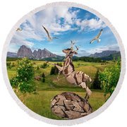 In The Field 25 Round Beach Towel