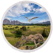 In The Field 27 Round Beach Towel