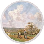 In The Fields Round Beach Towel by Camille Pissarro
