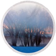 In The Fog At Sunrise Round Beach Towel