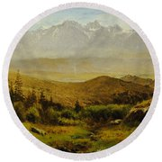 In The Foothills Of The Rockies Round Beach Towel by Albert Bierstadt