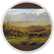 In The Foothills Of The Rockies Round Beach Towel