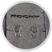 In The Footsteps Of Rocky Round Beach Towel