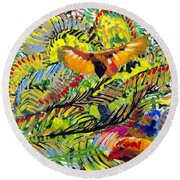Birds In The Forest Round Beach Towel