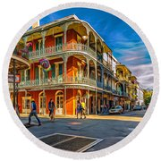 In The French Quarter - 2 Paint Round Beach Towel
