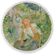 In The Garden At Roche Plate Round Beach Towel by Berthe Morisot