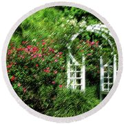 In The Garden Round Beach Towel by Carolyn Marshall