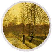 In The Golden Gloaming Round Beach Towel by John Atkinson Grimshaw
