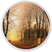In The Golden Olden Time Round Beach Towel by John Atkinson Grimshaw