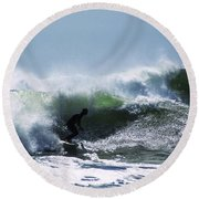 In The Green Water 2 Round Beach Towel