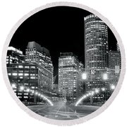 In The Heart Of A Black And White Town Round Beach Towel