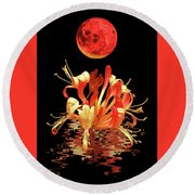 In The Heat Of The Night 2 Honeysuckle Red Moon Round Beach Towel
