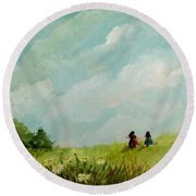 In The Meadow Round Beach Towel
