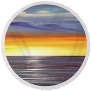 In The Moment Panoramic Sunset Round Beach Towel