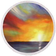 In The Moment - Vertical Sunset Round Beach Towel
