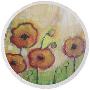 Poppies At Dusk Round Beach Towel