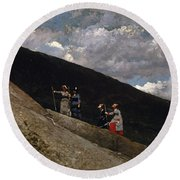 In The Mountains Round Beach Towel