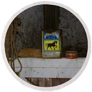 In The Old Horse Barn Round Beach Towel