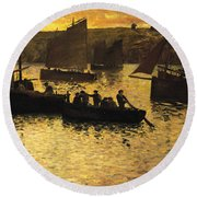 In The Port Round Beach Towel by Charles Cottet