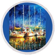 In The Port - Palette Knife Oil Painting On Canvas By Leonid Afremov Round Beach Towel