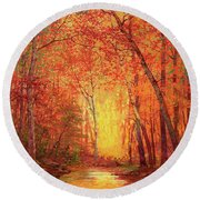 In The Presence Of Light Meditation Round Beach Towel