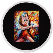 In The Rhythm Of Tango 2 - Palette Knife Oil Painting On Canvas By Leonid Afremov Round Beach Towel