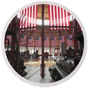 In The Roundhouse At The B And O Railroad Museum In Baltimore Round Beach Towel