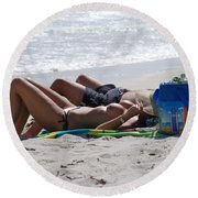 In The Sand At Paradise Beach Round Beach Towel