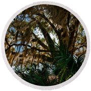In The Shade Of A Florida Oak Round Beach Towel