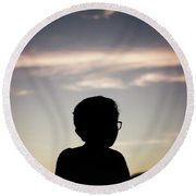 In The Shadow Of Sunrise. Round Beach Towel
