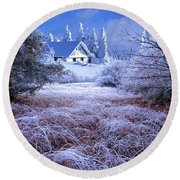 In The Snowy Forest Round Beach Towel