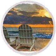 In The Spotlight Bordered Round Beach Towel