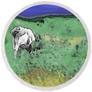 In The Sweet Fields Round Beach Towel