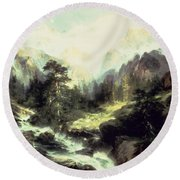 In The Teton Range Round Beach Towel