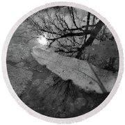 In The Water Bw  Round Beach Towel