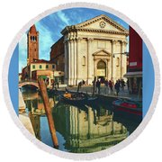 In The Waters Of The Many Venetian Canals Reflected The Majestic Cathedrals, Towers And Bridges Round Beach Towel