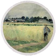 In The Wheatfield At Gennevilliers Round Beach Towel by Berthe Morisot