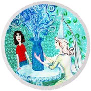 In The White Lady's Cave Round Beach Towel