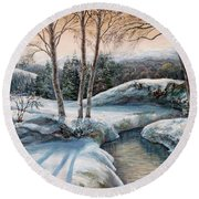 In The Winter In Carpathians.  Round Beach Towel