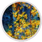 In The Woods Again Round Beach Towel