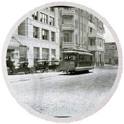 In This 1913 Photo, A Cable Car Drives Past The Littlefield Building And Dristill Hotel On Sixth Str Round Beach Towel