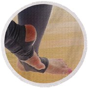 In Warm Up Tights Relaxed Position Round Beach Towel