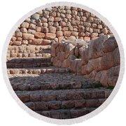 Inca Steps At Chinchero  Round Beach Towel