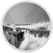 Incoming  La Jolla Rock Formations Black And White Round Beach Towel