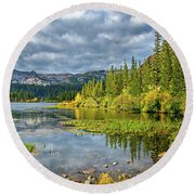 Incoming Storm At Twin Lakes Round Beach Towel