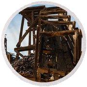 Independence Gold Mine Ruins Round Beach Towel